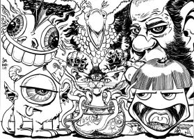 Six Pack of Monsters (B and W Version) by SirDNA109