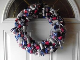 Ribbon Wreath Red White and Blue by bkell22