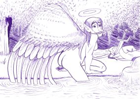 Angel Ablution by Fevley