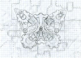 Steampunk Butterfly - Pencil by LittleFireDragon