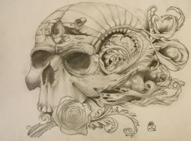 skull and roses 2 by PaintedPeople