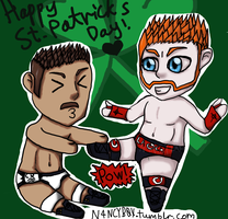 St. Patricks Day With Sheamus and Cody by mysticalbadger