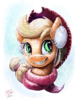 Snow Pony_Applejack by Tsitra360