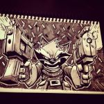 Inktober Day 21 - Rocket Raccoon by DerekLaufman