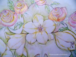 FREESIAS  AND ROSES X close up x by GeaAusten