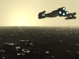 Battlecruiser over a city by Lwerewolf