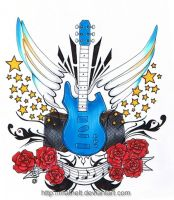 Guitar Tattoo by Mathelt