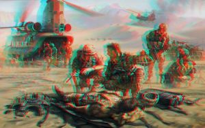 Art Painting Military 3D Conversion Red Cyan by Fan2Relief3D