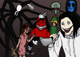Creepypastas Family - color colab by Kiki-Hyuga