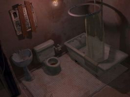 Grungy Basement Bathroom by Nekomancer-Tei