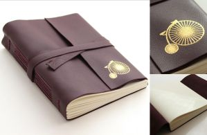 Purple Leather Journal - Gilded Antique Bycicle by GatzBcn