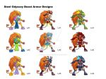 Steel Odyssey Beast Final Armors by Rue-of-Blue-Breeze