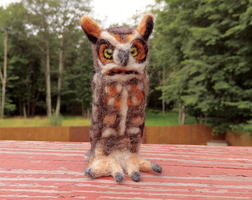 Needle Felted Great Horned Owl Soft Sculpture by DancingVulture