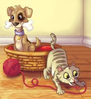 Puppy and Kitty Basket by Knackful