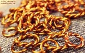 Homemade Rings - Brass and Copper w Twisted links by ulfchild