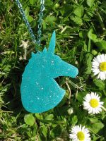Shrinky Dink Unicorn Necklace by PorcelinaZero