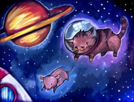 Cat v Mouse (in space) by Rubysnuff