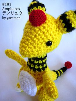 Ampharos Pokemon Amigurumi by yarnmon