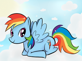 Rainbow Dash above the cloud by Haru-Shonta