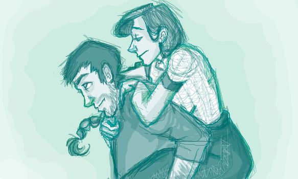 Sketch of Arya and Gendry by iMissSimplicity