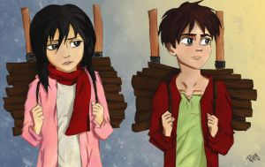 Eren and Mikasa by Blueberries-in-July