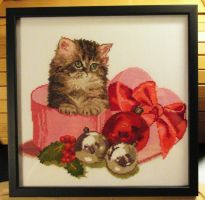 Christmas Kitten Embroidery by ToveAnita