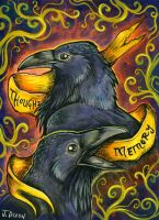 Huginn and Muninn by Crowtesque