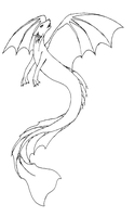 Aquatic Wolf Dragon thing lineart by Cookie96