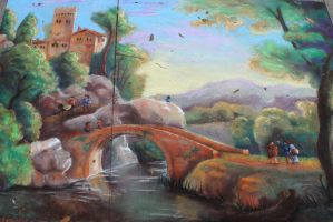 Chalk Art Italian Landscape with Bridge by charfade