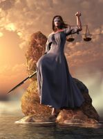 Blind Justice With Scales and Sword by deskridge
