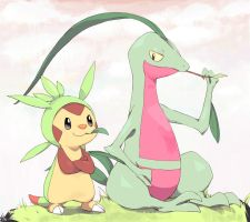 Grovyle and Chespin by PixivAlt