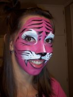 pink tiger face paint by cynthiardematteo