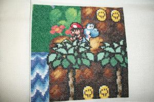 Child's Play 2012 Quilt Square: 2-Yoshi's Island by gamerwolff