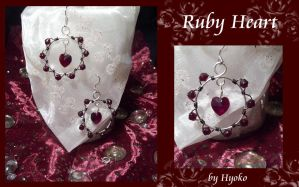 Ruby Heart Earrings by Hyo-pon