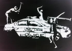 3 hooligans Smashing Up Police Car Stencil by dannyboib