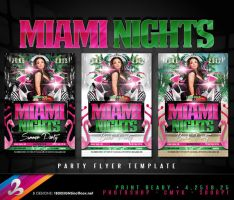 Miami Nights Party Flyer Template by AnotherBcreation
