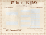 LWs Jyggalag CCXIII D-RPG Certificate by kagetora4ever