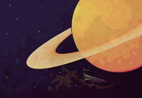 Whale in space circulating around Saturn by umbkipz