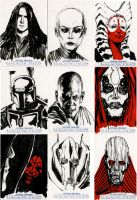 Star Wars Sketch Cards - Prequel II by clayrodery