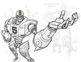WIP Cover Design Robot for Alcatraz High by BobbyRubio