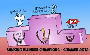 Caricature of the 2012 Banking Blunders Champions by optionsclickblogart