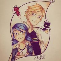 Adrien and Marinette doodle by VIKI-J
