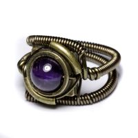 Purple Steampunk amethyst ring by CatherinetteRings