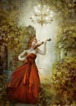 Woman with Violin by Euselia