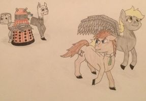 The Doctor and Derpy Make the Escape by JohnnyHorse