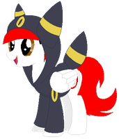 Ponymon: DreamCaster in a Umbreon Hoodie by DreamCasterPegasus