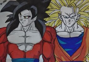SSJ3 and SSJ4 Goku by WatersDBZArt