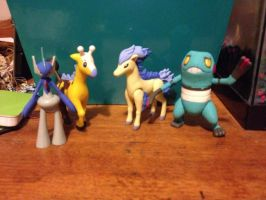 Pokemon figures painted shiny! by Darkshadowarts