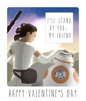Star Wars 7 Valentine Card (Rey and BB-8) by Moonspire