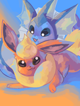 vaporeon and flareon by Astrofiziks